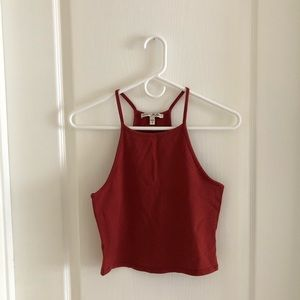 Express Rust Red Halter Crop Top